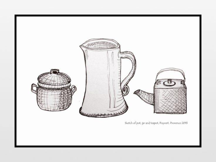 Sketch of pot, jar and teapot