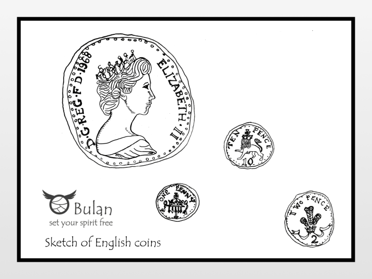 sketch of coins