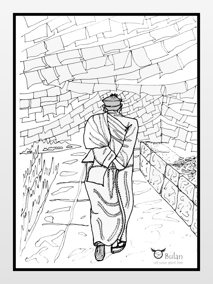 Sketch of monk walking alone