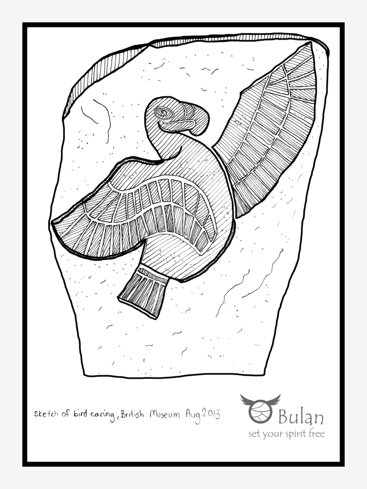 Sketch of flying bird carving