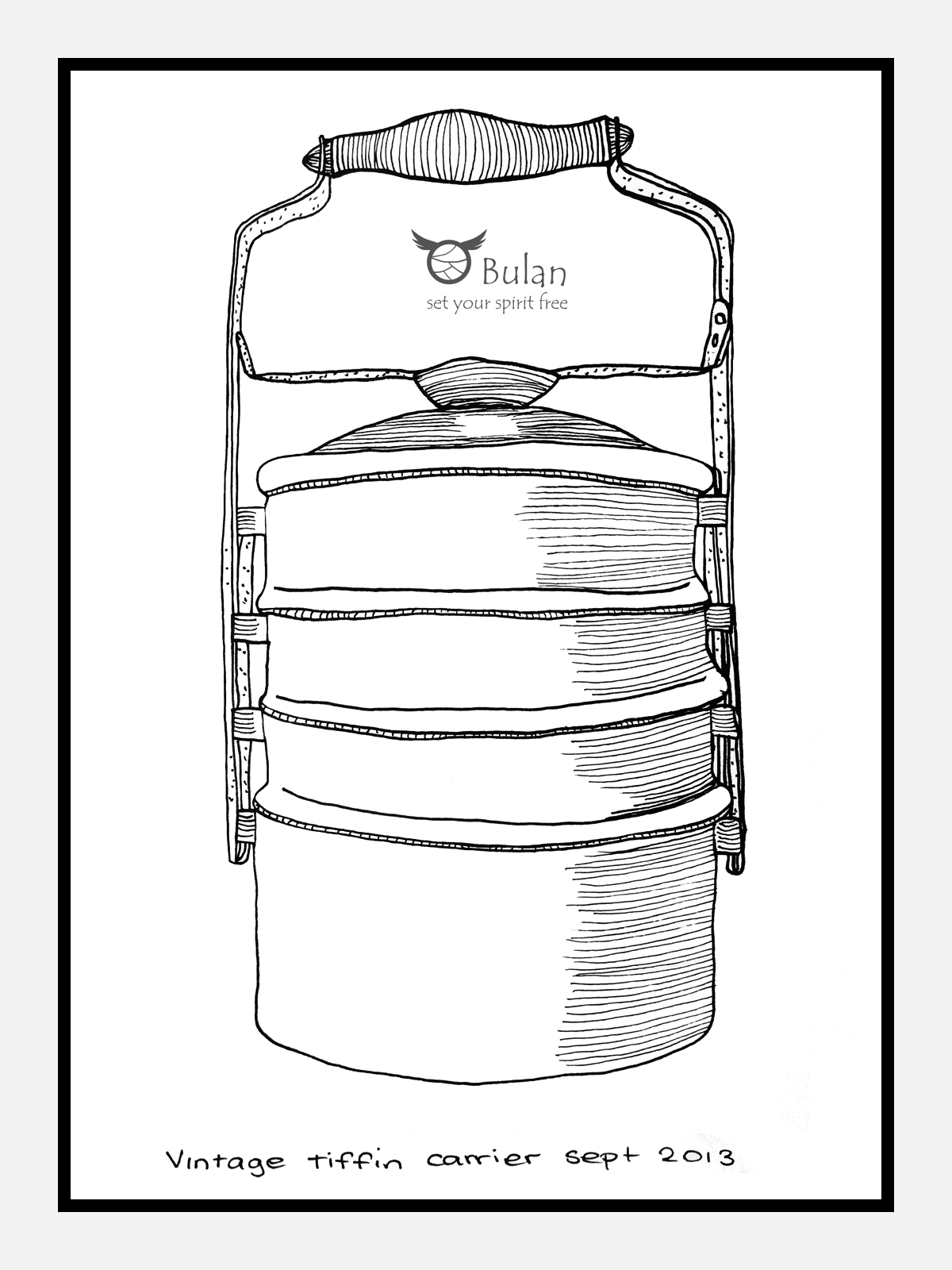 Sketch Of The Day No 151 Vintage Chinese Tiffin Carrier U2013 The Crazy Bag Lady @BulanLifestyle.com