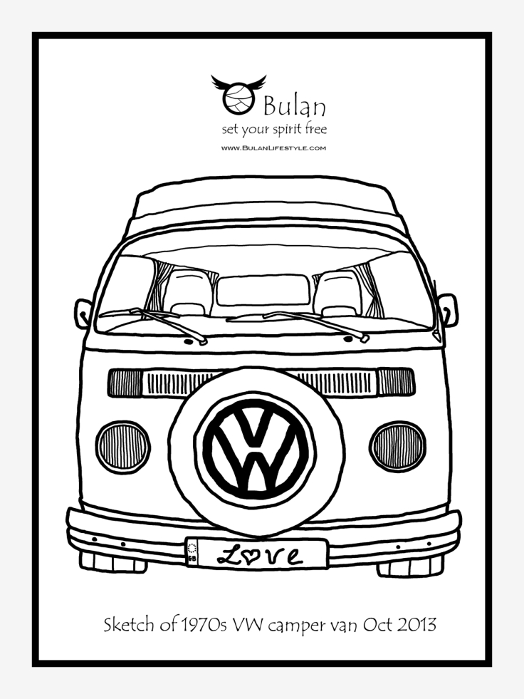 sketch of the day no 165  classic 1970s vw camper van