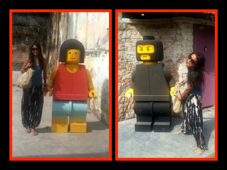 Lego woman and Lego man by  Ernest Zacharevic