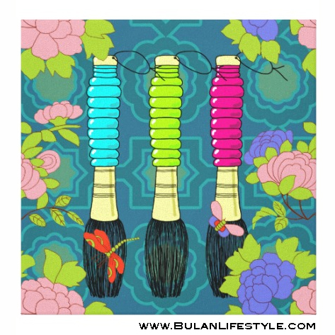 Vintage Chinese Brushes with peonies