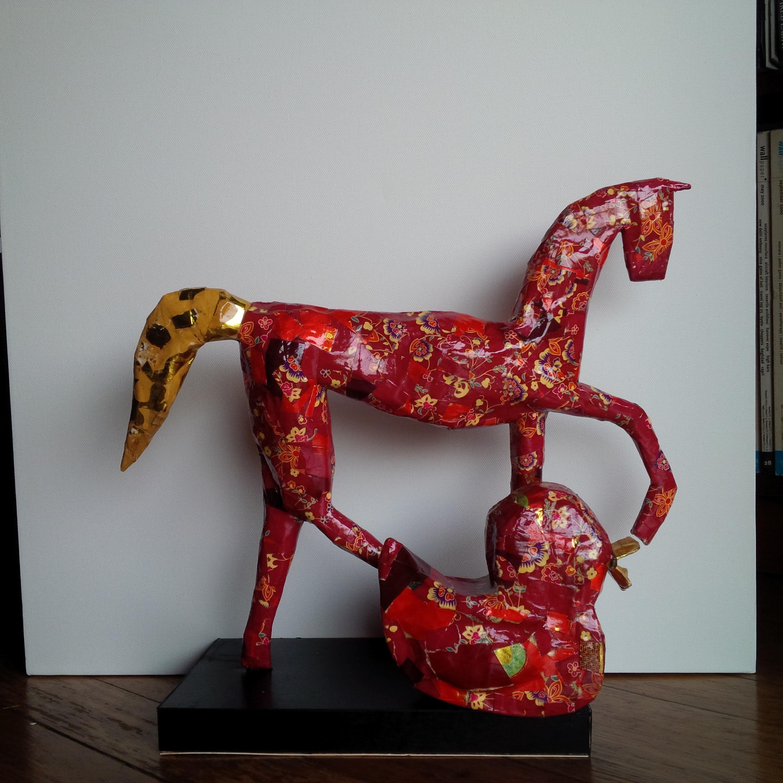 Papier-mâché horse and duck