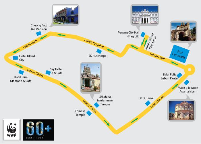 Earth hour walking route