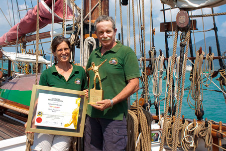 Shane & Meggi with the 2010 Asia Pacific Laureate Foundation award for Social Service awarded for humanitarian service to isolated island communities in South East Asia. Photo taken from Vega webiste