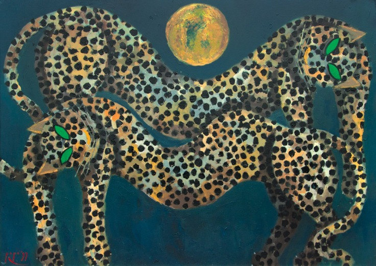 Popo-Iskandar-Dua-Macan-Memandang-Bulan-1997-100-cm-x-145-cm-oil-on-canvas