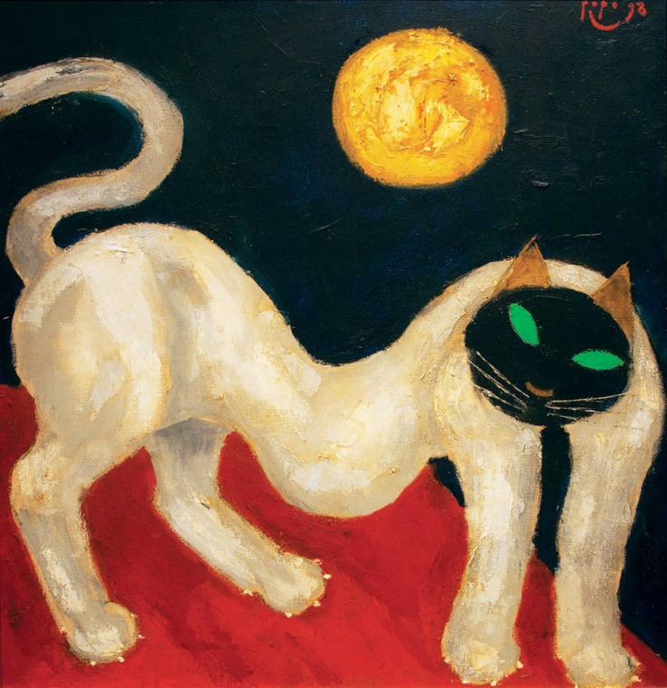 Popo-Iskandar-White-Cat-With-Sun-75cm-x-75cm-oil-on-canvas