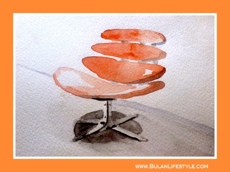 Watercolour of Poul Volther Vertebrae Chair