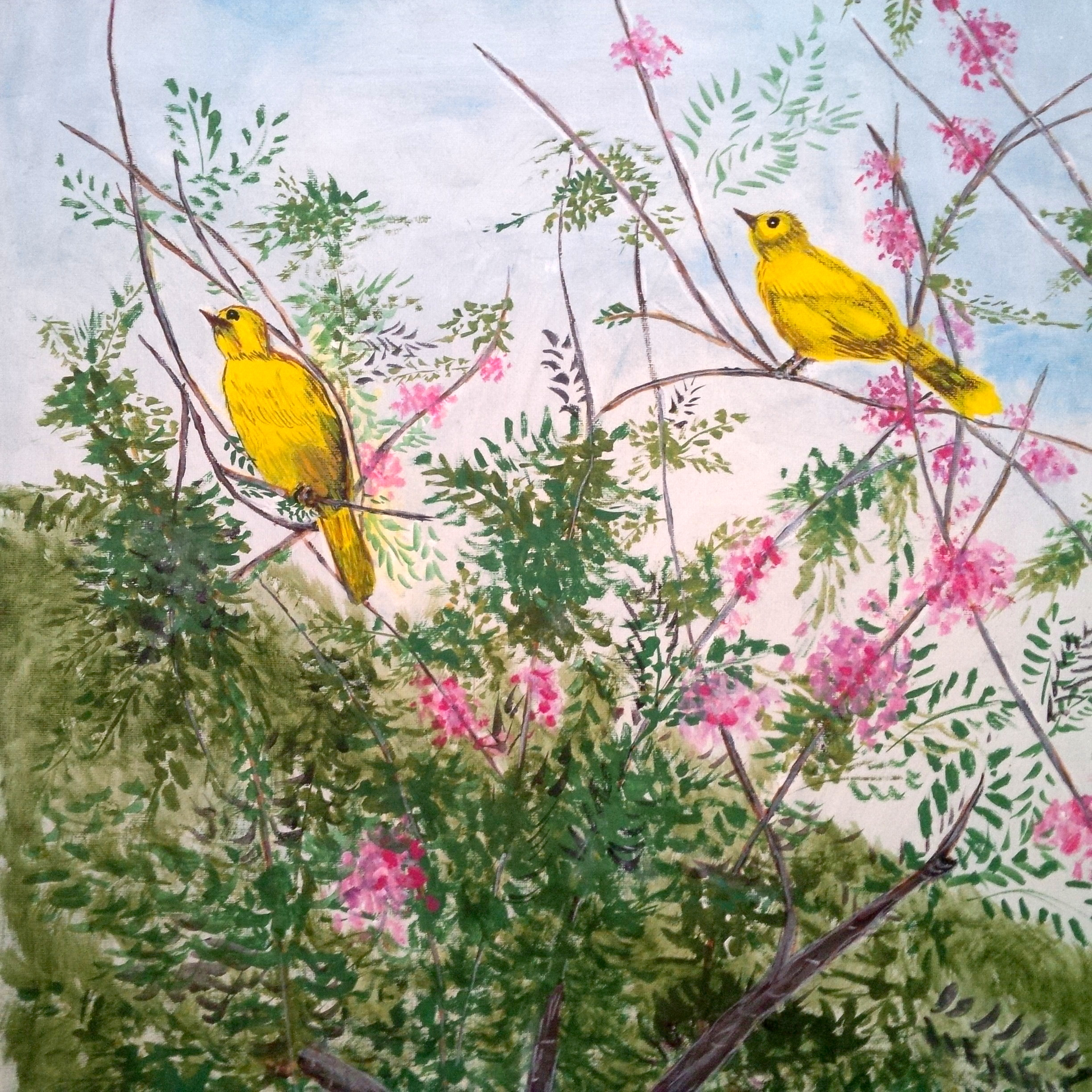 Yellow Birds In The Garden. Art By Ling