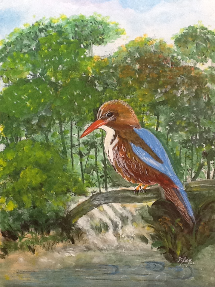 kingfisher painting, bird art