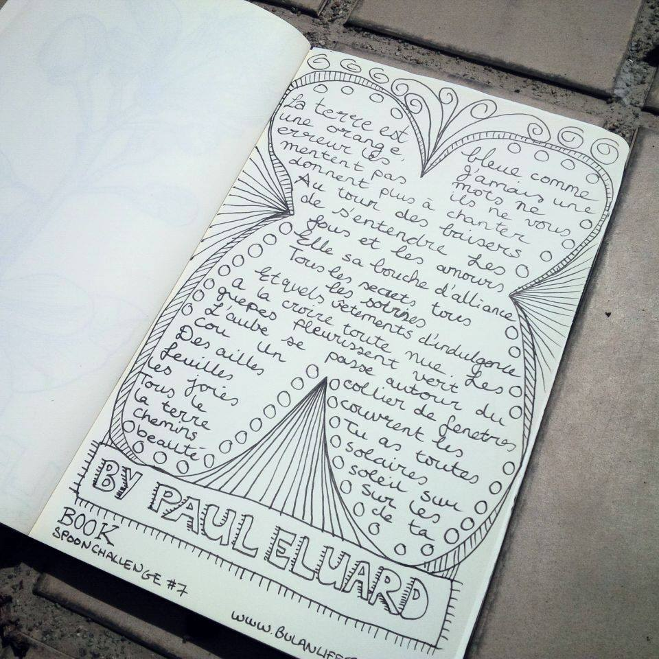 #Spoonchallenge 7 Book. Poem by Paul Eluard.