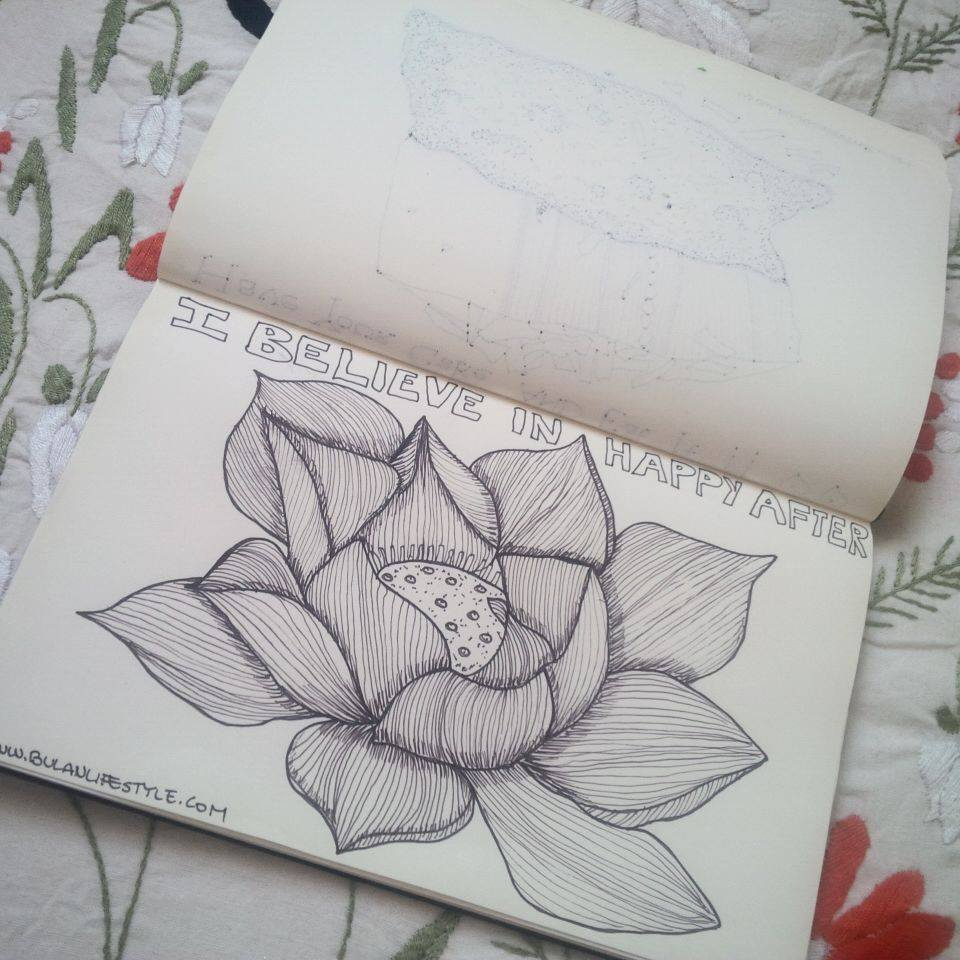 Sketch of the day no 402 i believe in happy ever after lotus lotus flower illustration izmirmasajfo