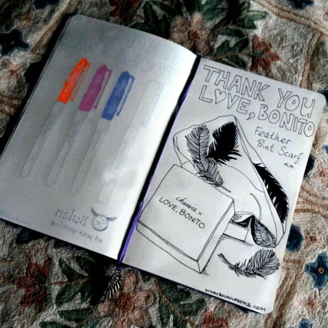 Love, Bonito #LBgoestoKl Sketch of feather print scarf