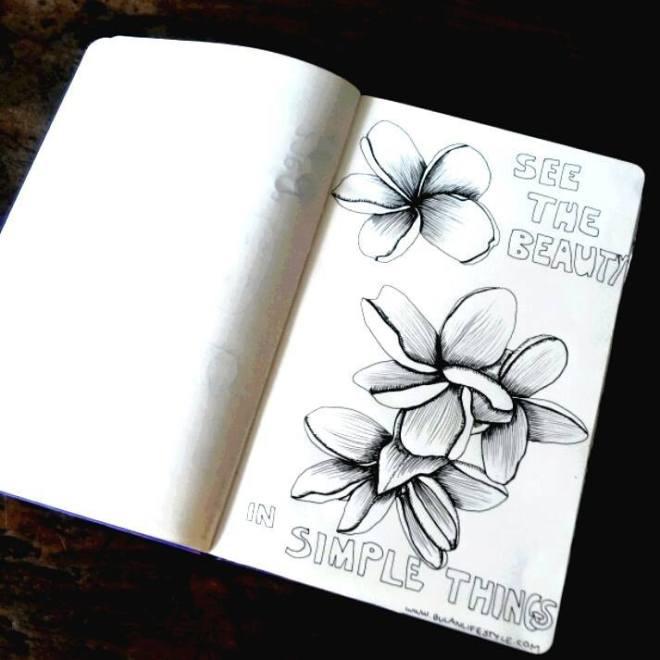 Botanical illustration. Frangipani flower in Bali