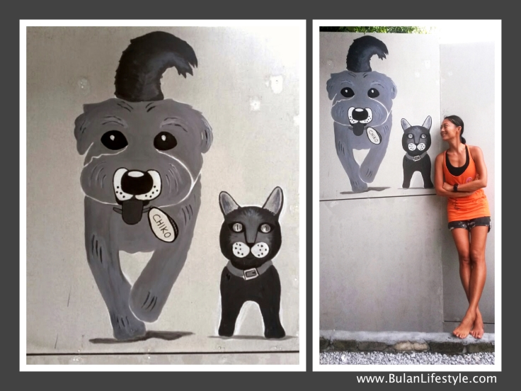 Chiko the dog and Merlin the cat animal street art