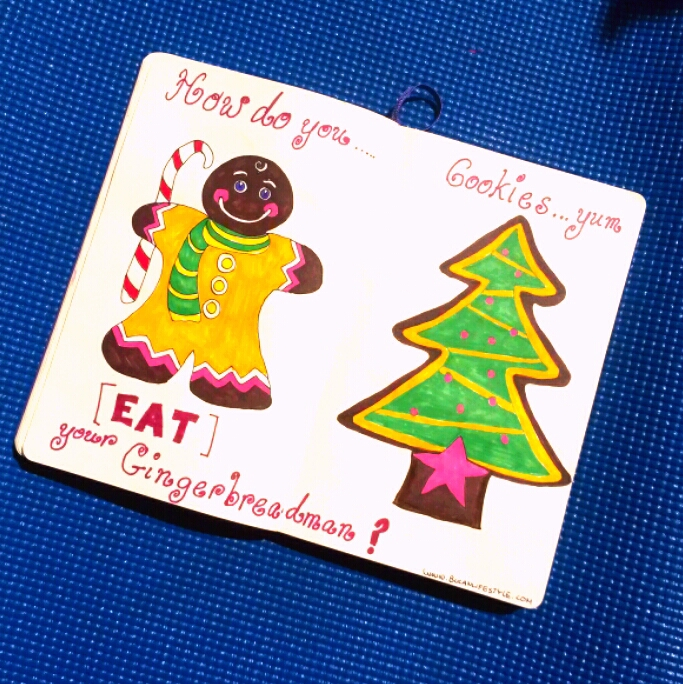 gingerbread man cookie and christmas tree