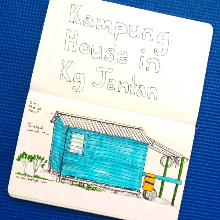 Kampung wooden house sketch