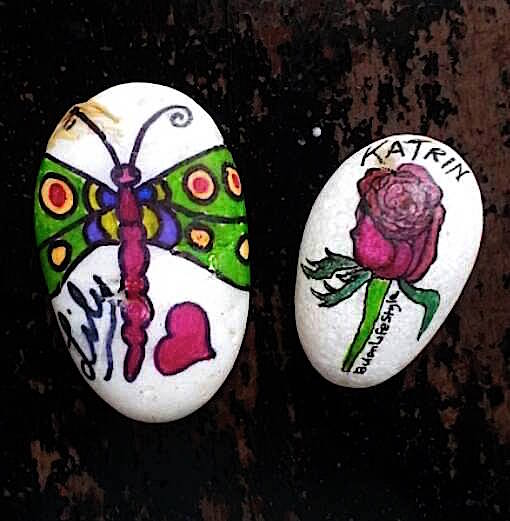 Dragonfly and rose pebble art