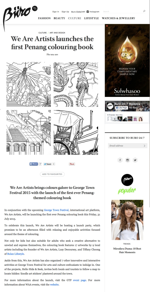Penang colouring book by We Are Artists featured in Buro 24/7