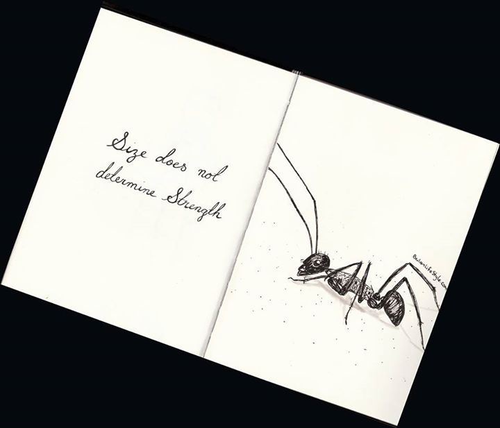 Ant drawing. Size does not determine strength