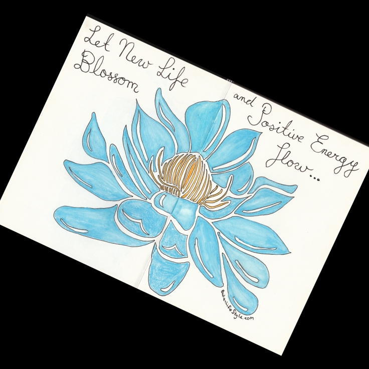 Blue Lotus flower drawing