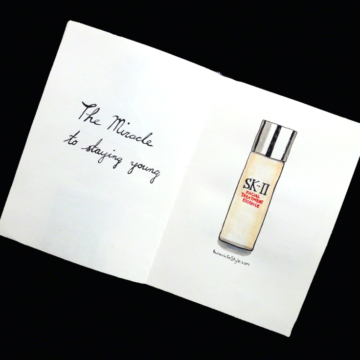 Illustration of SKII Miracle water by Penang artist BulanLifestyle