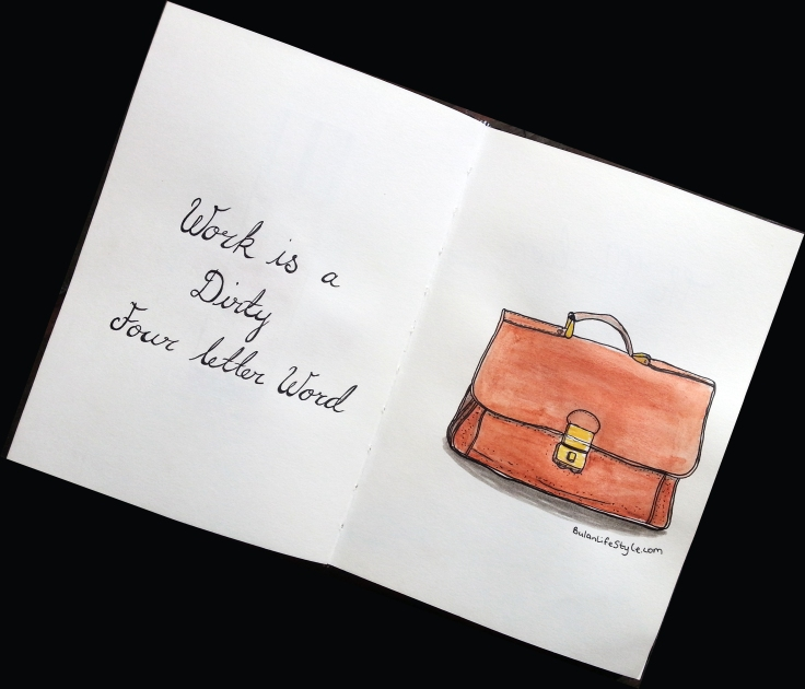 Drawing of leather satchel bag by Penang artist, BulanLifestyle