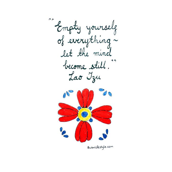 Spanish tile.  Quote: Empty yourself of everything, let the mind become still ~ Lao Tzu