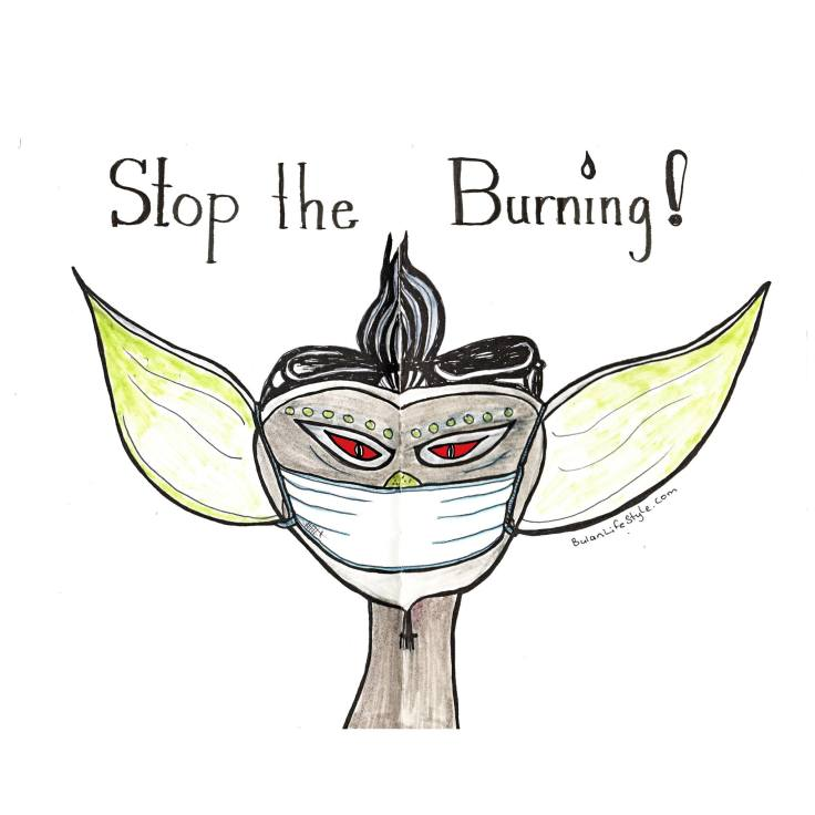 Sock Gremlin wearing a face mask and protesting against the burning and Haze in Malaysia and Indonesia