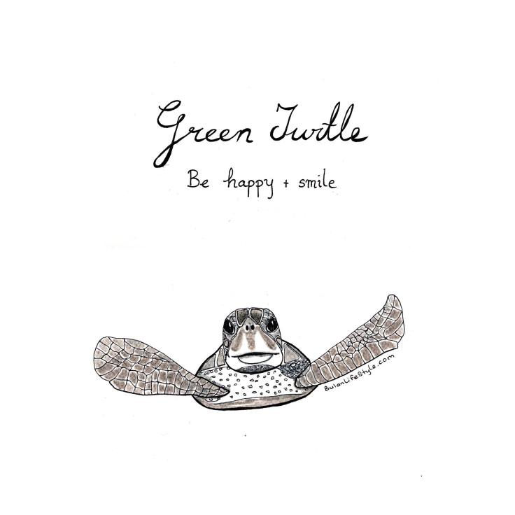 Green turtle drawing Quote of the day: Be happy and smile