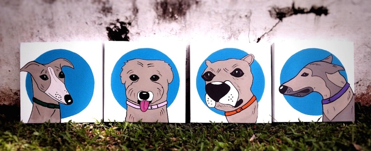 The dog icons. Quadriptych.  Acrylic on canvas. Size 1' X 1'