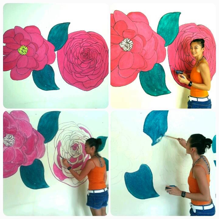 The making of the Nonya art wall with pretty pink peony flowers