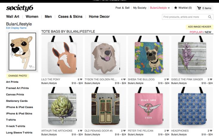 BulanLifestyle online shop at society6